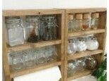 ★2点set★ 茶 キッチンペーパースパイスラック&三段スパイスラックの画像