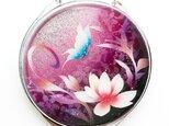 コンパクトミラー 蓮と蝶 ピンク紫 銀箔の画像