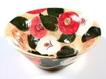 椿紋様の色絵大鉢の画像