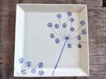 【ご予約分】青いレースフラワー 四角のお皿 25cmの画像