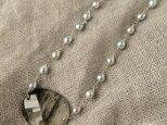 Pt   Black rutile quartz・Pearl Necklaceの画像