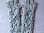 【受注後製作】手袋アルパカ×ラムウール水色系の画像