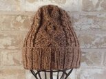 【受注後製作】ニット帽アルパカ×ラムウール ブラウン系 の画像