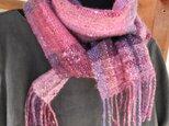 手紬手織り ローズとパープルのマフラーの画像