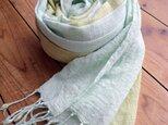 …青磁色×若菜色…コットンショールの画像
