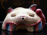 彩門縄文様古代色猫土偶#Pの画像