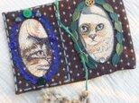 ゴブラン織りの猫さんのぞくブックカバー/手帳カバー11の画像