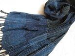 【再販】残り糸をつかった藍の手織りストールの画像