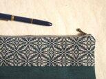 【sale】手織りの藍模様ペンケースの画像