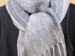 麻と木綿のブルーグレーの手織りロングマフラーの画像
