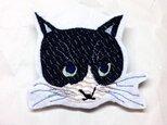 刺繍猫ブローチ 「八割れ猫」の画像