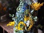 ドライフラワーの鳥かごアレンジ ミモザ×ブルーの画像