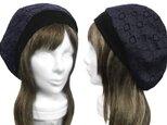 コットンレース/リブ付ベレー帽(ゆったり)◆紺×黒の画像