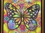 シルク額絵*黒蝶の画像