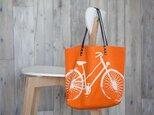 バイオウォッシュ帆布トートバッグ、自転車、タンジェリンの画像