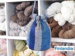 北欧手織り布 ウール巾着の画像