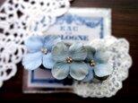 花びらのバレッタ ■ アンティーク風ベルベッドの花びら ■ ブルーグレー フェイクスエードの画像