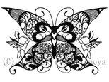 <切り絵>蝶とうさぎだまし絵ポストカード3の画像