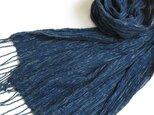 藍とグリーンの手織りしぼストールの画像