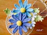 花のコサージュ 水色の画像