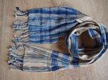 春夏 藍と梅の草木染格子柄 綿と絹のマフラー ③の画像