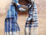 春夏 藍と梅の草木染格子柄 綿と絹のマフラー ①の画像