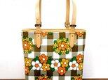 ヴィンテージファブリックのレトロなトートバッグ [花柄チェック]の画像