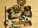 ★焼き鮭定食御膳・ベージュ和柄の画像