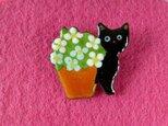 七宝ブローチ 黒猫ちゃん見ーつけたの画像