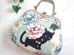 がま口 バッグ 和柄 猫 ネコ ねこ 長財布も入りますの画像
