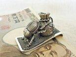 マネークリップ・フンコロガシ 銀製(シルバー925)手作り一点物の画像