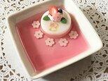 再販!イニシャル入り☆little flowerピンクケーキのアクセサリートレイの画像
