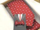 【送料無料】還暦のお祝いに~赤の花小紋ネクタイ&タックピン/受注後の制作の画像