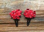 革花のブーケスリーピン 2個セット 赤の画像