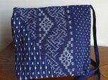 手織り久留米絣:3枚パッチワークのショルダーバッグ(B-21)の画像
