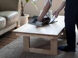 天然オイル仕上「栗の木」2WAYローテーブルの画像