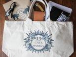 旅行にも使えるサイズの帆布ビッグトートバッグ(OLD CATS)シルクスクリーン 13.CATS.WORKSオリジナルの画像