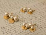 新作 gold × cotton pearl earring ノンホールピアスの画像