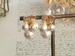 秋冬新作 gold × cotton pearl earring ノンホールピアス  片方の画像