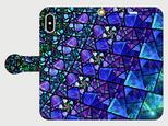 ステンドグラス モチーフ (サファイアブルー) iphone 5/5s/6/6s/SE/7/8/X/XS 専用 手帳型の画像