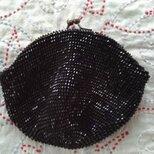〈オーダー品〉ビーズ編みがま口財布 黒六角ビーズの画像