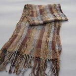 手織りシルクマフラー MUF106A ツイード調 ウール 茶系 ブラウン系 チェック柄 強撚糸 男女兼用 プレゼントの画像