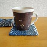 手織り コースター2枚set ・ネイビー系の画像