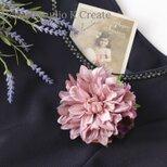 モーブピンクのダリアのコサージュ(ヘッドドレス可) 入学式 コサージュ ヘアクリップ 結婚式 フォーマルの画像