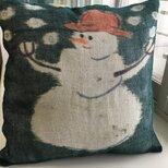 雪だるまのクッションカバーの画像