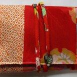 送料無料 絞りと花柄の着物で作った和風財布・ポーチ 4244の画像