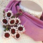 立体レース 花のコットンストール「ひまわり/2辺」アンティーク・ローズの画像