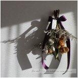 冬が待ち遠しいコットンフラワー(茶)のドライフラワースワッグの画像