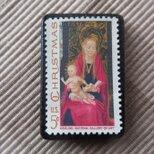 再販 アメリカ クリスマス切手ブローチ 5699の画像