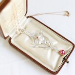 18K & Sterling Silver Ruby & Pearl Art Nouveau Style Necklaceの画像